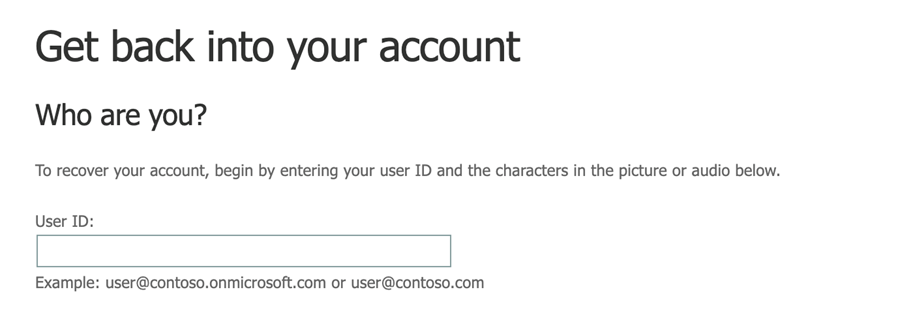 Microsoft Self-Service Password Reset start page